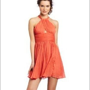 Coral orange BB Dakota chiffon ruffle dress